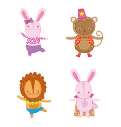 set rabbit with monkey and lion costume vector image