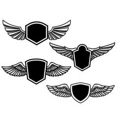 Set winged emblems design element for poster vector