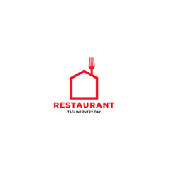 Simple minimalist line restaurant food fork logo vector