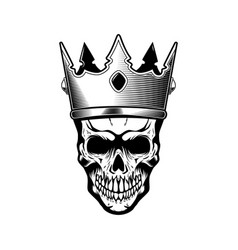 skull in king crown design element for logo label vector image