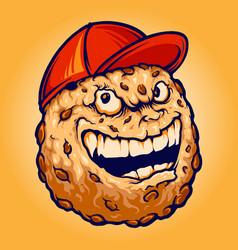 Smiley chocolate cookies biscuit hat mascot vector
