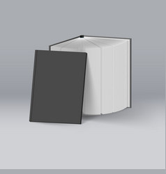 Stack of black books mockup template for design vector