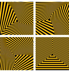 Striped triangles textures set vector
