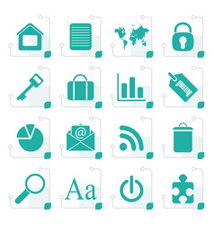Stylized simple business and internet icons vector