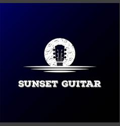 sunrise sunset moon lake river creek guitar vector image