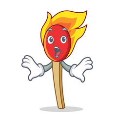 Surprised match stick mascot cartoon vector