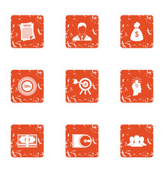 Task icons set grunge style vector