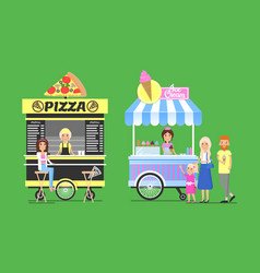 Tasty pizza and sweet ice cream on street carts vector