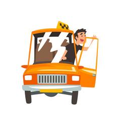 taxi driver in yellow car taxi service cartoon vector image