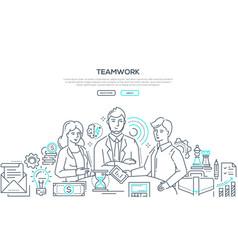 Teamwork - modern line design style vector