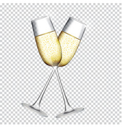 two glass of champagne isolated on transparent vector image