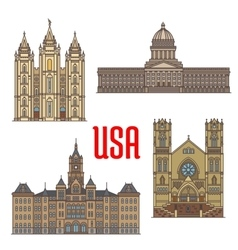 USA travel landmarks icon of Utah architecture vector image