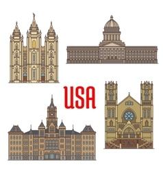 Usa travel landmarks icon utah architecture vector