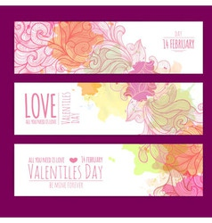 valentines day background set banners vector image