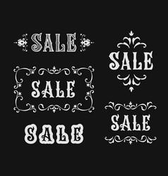 vintage sale sign set lettering vector image