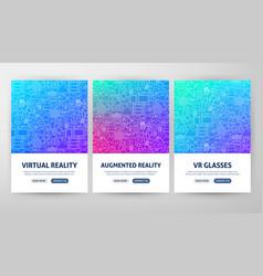 Virtual reality flyer concepts vector