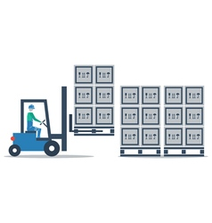 Warehouse storage services boxes on pallets vector