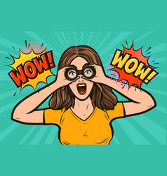 wow sexy surprised woman with open mouth looking vector image