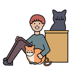 young man with cute cats mascots vector image