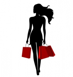young woman with bags vector image