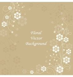 Beautiful floral pattern on brown background vector image vector image