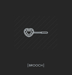 brooch outline icon isolated vector image vector image