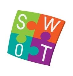 Four pieces colorful SWOT puzzle icon vector image