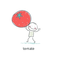 Man and tomato vector image vector image