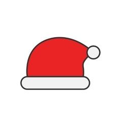 Santa Claus hat flat line icon vector image vector image
