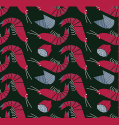 shrimp mussels and lemon seamless pattern vector image