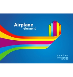 airplane colored background takeoff vector image vector image