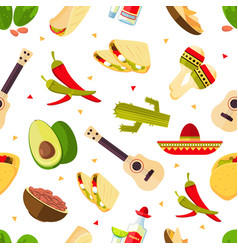 aztec theme cartoon mexican food tequila red vector image