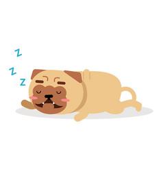 cute cartoon funny pug dog character sleeping vector image vector image