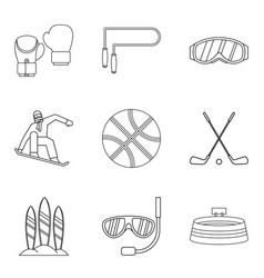 Descent icons set outline style vector