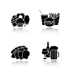 Food and drinks drop shadow icons set vector image vector image