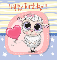 greeting card cute sheep girl with balloon vector image vector image