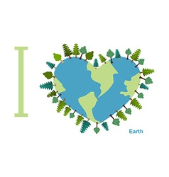 I love Earth Planet sweetheart with trees vector image
