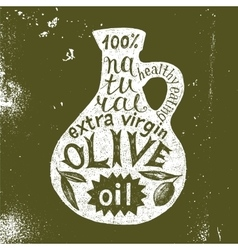 Silhouette of olive oil bottle with text design vector image