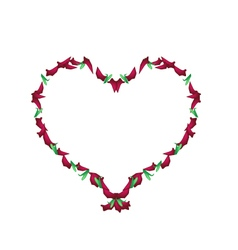 Beautiful Red Roses rose Petals in Heart Shape vector image vector image