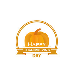 happy thanksgiving day pumpkin and ribbon vector image vector image