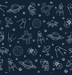 seamless pattern with space elements vector image