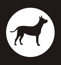 silhouette of a dog on white circle vector image