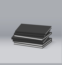 stack of blank black books presentation of your vector image