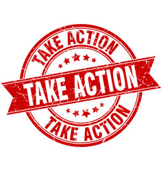 take action round grunge ribbon stamp vector image vector image