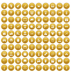 100 hero icons set gold vector