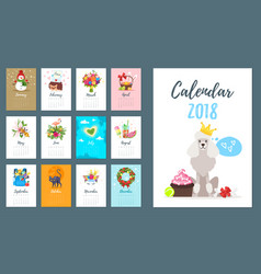 2018 dog year monthly calendar vector
