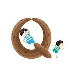 A Kid Leaning on a Letter Q vector
