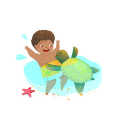 African american child boy playing swimming with vector