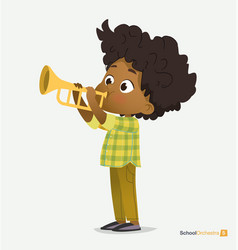 Afro american boy in green shirt play on trumpet vector
