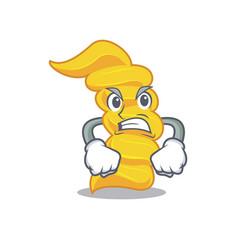 angry fusilli pasta mascot cartoon vector image